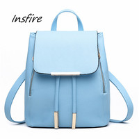 2016 leather fashion korean backpack women casual bag pu cover backpack for lady