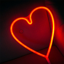 Wholesale Battery Powered High Quality Heart Shaped Led Lights Neon Night Light