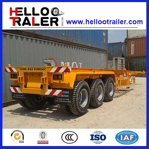 20ft 40ft 3 Axles Skeleton Semi Trailer