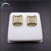 Fashion Mens Hip Hop Pave Diamond Earrings Stud Gold Earrings