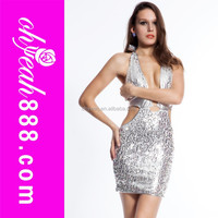 Sequin newest design sexy party open breast dress