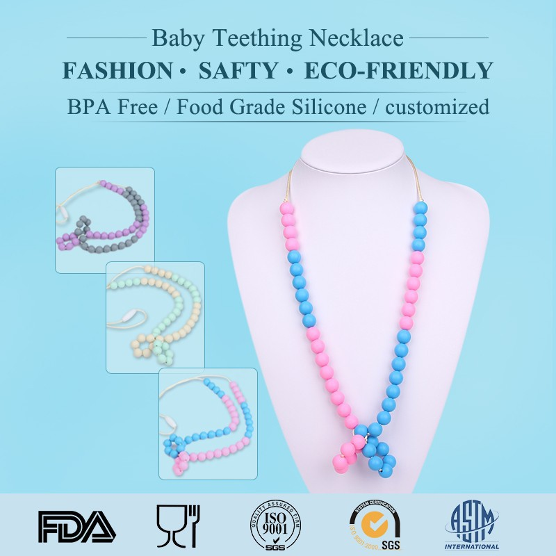 custom design beautiful fda silicone cheap plastic bead necklace