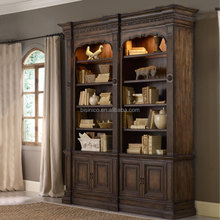 Luxury solid wood hand carved home furniture study room bookcase, living room display cabinet