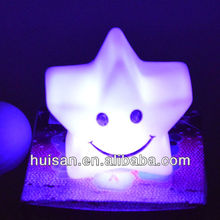 Plastic pvc LED star night light with color change/star sky led lights/plastic star shaped led light
