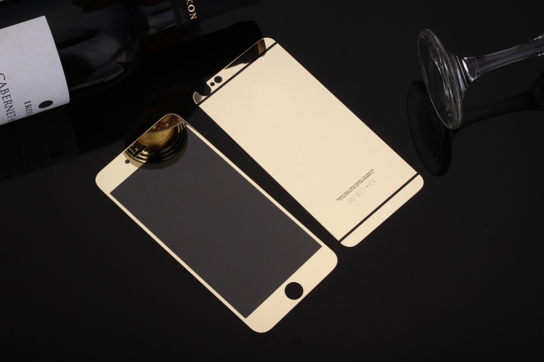 Front + Back Plated Metal Tempered Mirror Glass Screen Protector For <strong>Apple</strong> 5 5S 6 6s Plus 4.7 & 5.5Inch Free Shipping