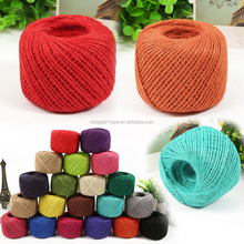 2MM eco-friendly and natural colored jute hemp yarn twine for home decoration and handicraft work