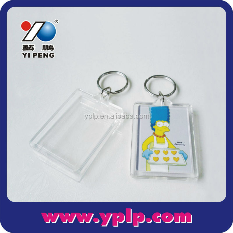 2017 Hot!! High Quality Souvenir Rectangle shape Blank Plastic Acrylic Photo Frame Keychain Keyring