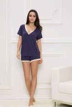 women elastic stain modal pajamas short set