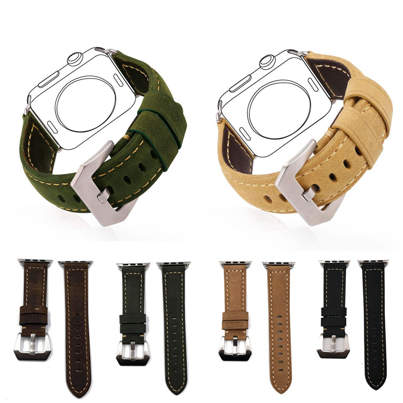 New Hot Selling first layer cow hide leather Strap Watch band for Apple Watch