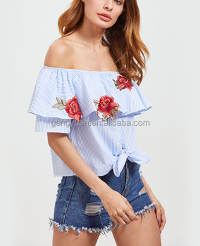 Women Blue Embroidered Blouse