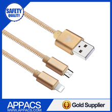 Phone accessories for Android 2 in 1 micro usb cable with fast express