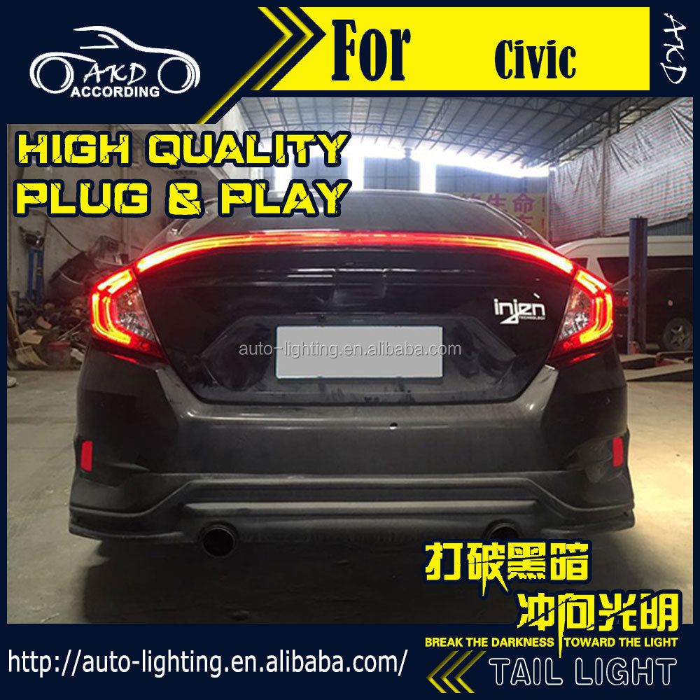 AKD Car Styling LED Tail Lamp Rear Lamp Tail Light DRL for Civic 2016-2017