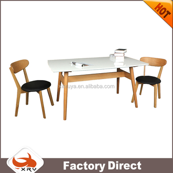 Wooden White MDF dining rectangle table for furniture