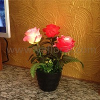 LED potted rose flower 3 stem light up rose artificial silk rose with led light in pot for home decoration