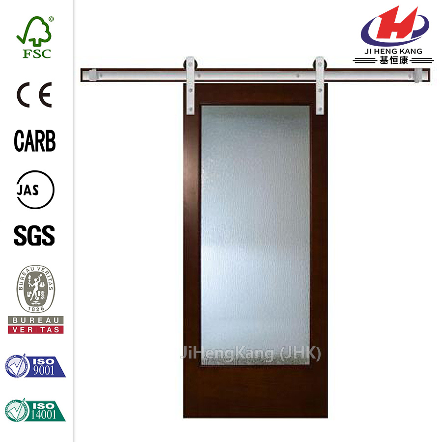 JHK-G01 Low-e Tempered Insulated Automatic Wood Glass Barn Sliding Door And Sliding Door Kit