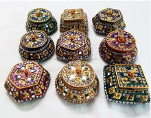 Wholesale 100 Pcs Lot Indian Lac Glitter Mirrored Trinket Jewelry Box