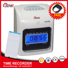 Hot sale time recorder 6 keys time clock attendance machine time keeping machine with work overtime function
