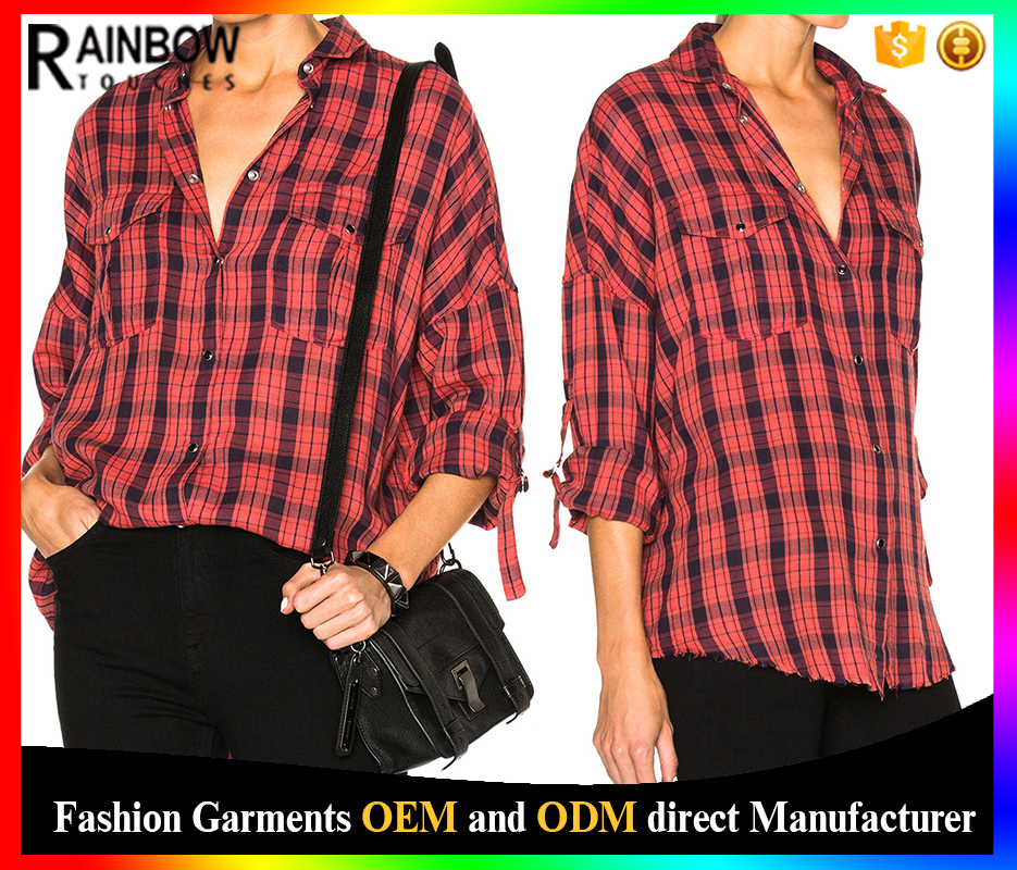 Autumn fashion flannel checked long sleeve collar blouse