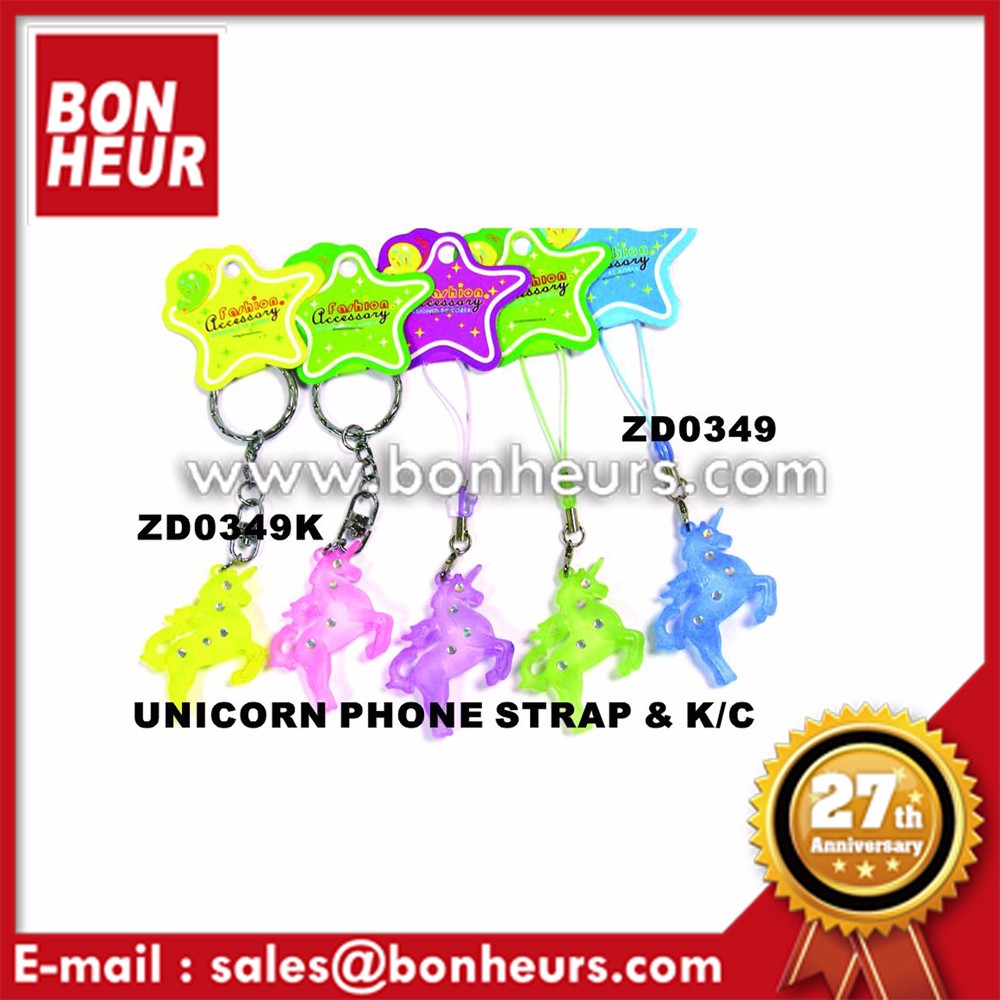 New Novelty Toy Animal Keychain Color Unicorn Phone Strap