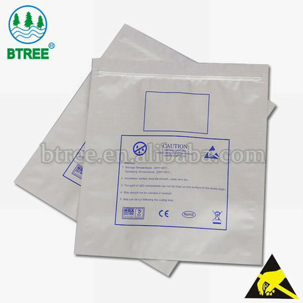 Electrostatic Discharge Aluminum Foil Zipper Bag To Prevent Damage From ESD