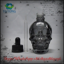 Hot sale 30ml perfume glass skull bottle clear for ICU&CCU use