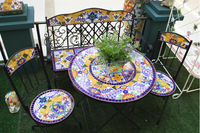 Wrought Iron and Ceramic Mosaic Garden Table and Chairs Set, Outdoor Backyard 1Table and 2 Chairs Leisure Set (BF01-P1026)