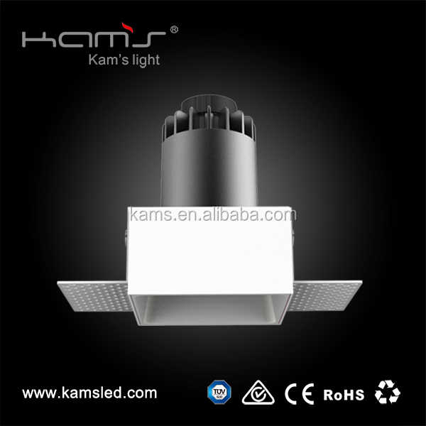 8-25w High Brightness COB LED Fixed or Tiltable Ceiling Square Trimless <strong>Downlight</strong> IP20 with CE, ROHS