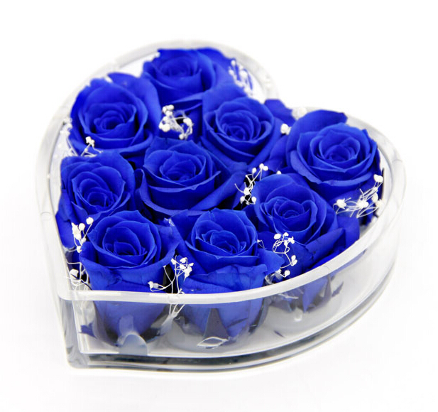 Custom factory direct selling valentine's day gift lucite clear acrylic 9 holders rose flower heart shape packaging box
