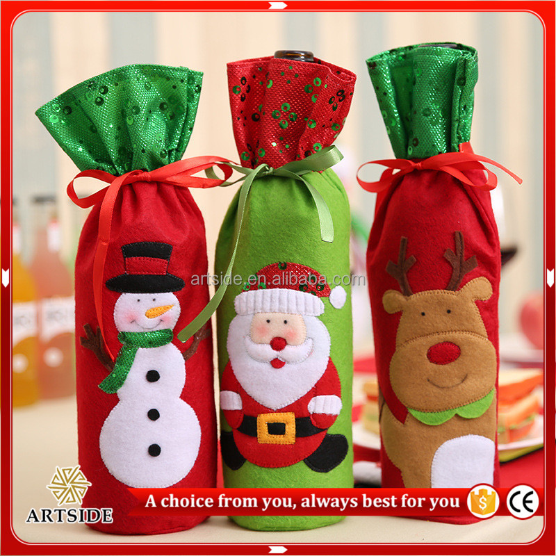 Cute Red Wine Bottle Cover Bags <strong>Christmas</strong> Dinner Party Table Decoration <strong>Christmas</strong> Supplies Gift