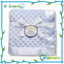 "30"" x 40"" Textured Minky Dot Blanket with Satin Trim"
