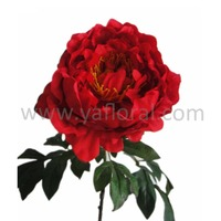Red hot sale silk peony artificial peony flower single stem artificial silk flowers
