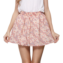 Wholesale ladies short skirt designs print chiffon elastic waist flower latest fashion short skirt