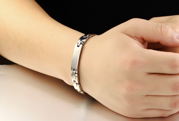B01 Silver Titanium steel Health Bracelet, A Deal Gift For Friends