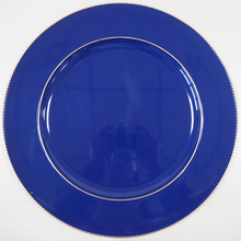 solid color fancy blue wedding plastic charger plates wholesale