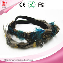 Simulation Fake Feather Blue And Gray Elastic Stretch Headbands Hair Rope