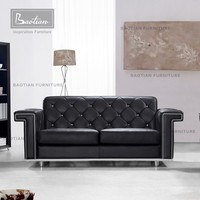 home furniture classic leather sofa set with cystal button