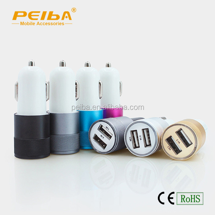 In Stock Metal Housing Car Charger for mobile with Safe Hammer Dual USB Charger