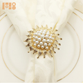 Pearl wedding napkin ring / gold napkin rings for christmas table decoration