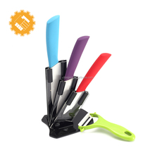 5-Piece colorful ceramic Kitchen Knife Set with acrylic stand and vegetable peeler slicer