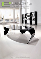 New style creative hot bent glass coffee table with three legs