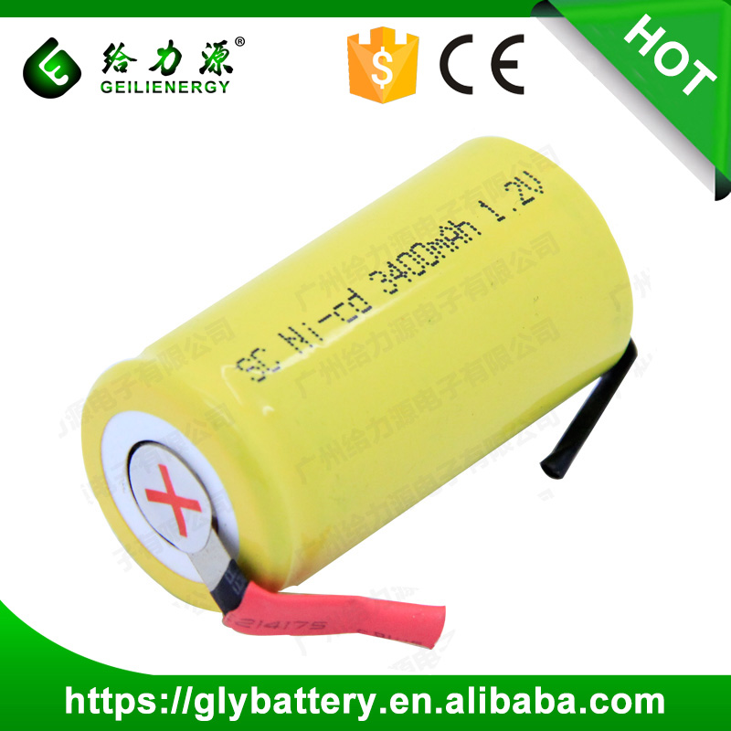NICD SC3400mAh 1.2V Rechargeable Battery Flat Top With Tabs