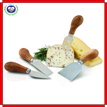 Set of 4 Cheese Knives Modern Sleek Wooden Handles Stainless Steel Blades New