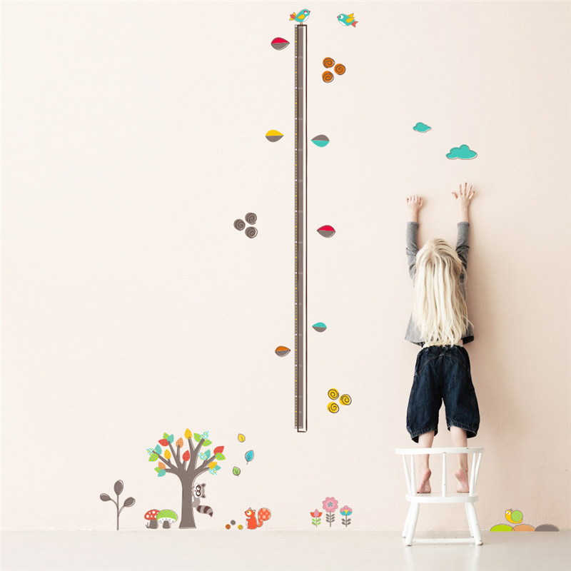 ZOOYOO colorful leaf kids kindergarten wall sticker height chart