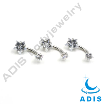 Surgical steel wholesale body jewelry AAA zircon magnetic belly button piercing