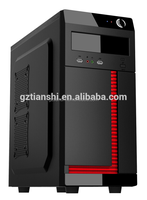 Good design black and red color gaming computer PC case with 2 USB port