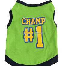 Fashion green color pet tank top garments with the word Champ NO. 1, sando shirt