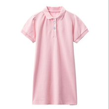 Kid's <strong>girl's</strong> fashion casual solid color pique embroidery sports polo <strong>dress</strong>