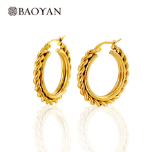 Trendy 30CM Gold Color Simple Classic Hoop Stainless Steel Earrings