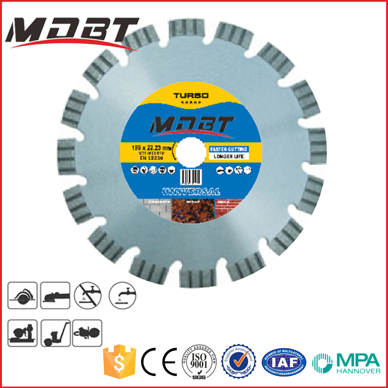 "Cold-Pressed Dry Segmented Diamond Saw Blade Cutting Disc For Marble Granite 13 Segments 7"" 180x2.4x10"