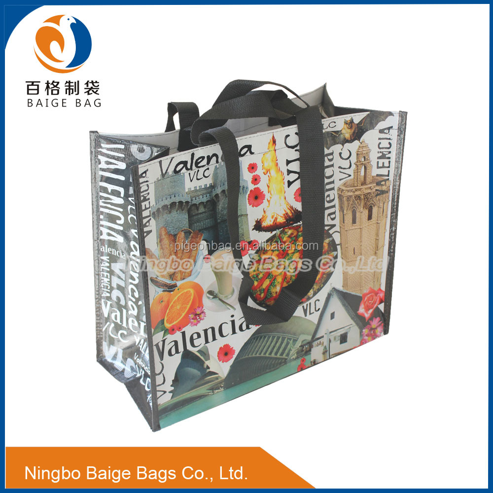Pocked Inside Double Handle PP Woven Shopper Bags